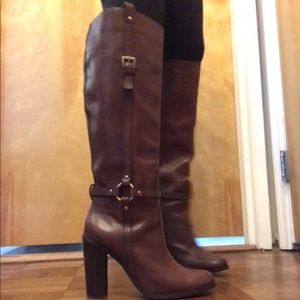 Coach Knee-high Brown Leather Boots. 4in heel. 7.5